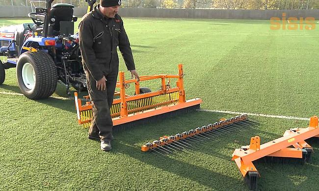 SISIS Towed Implement Frame for synthetic turf maintenance